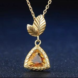 ❤️ Natural Citrine & Silver Necklace 112501350